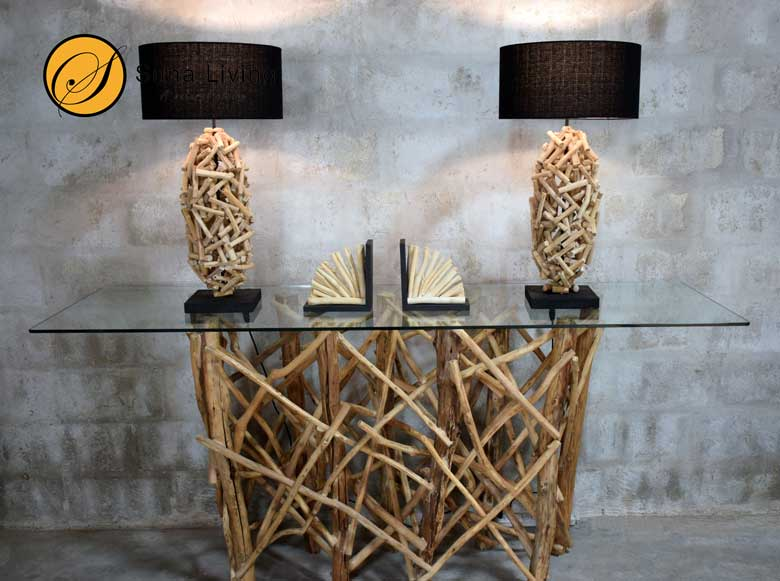 Suna Living driftwood lamp and bookend